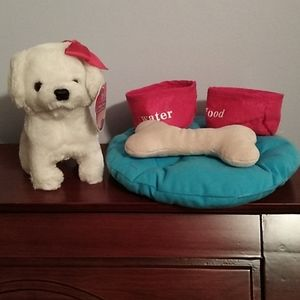 New toy dog with dog bed